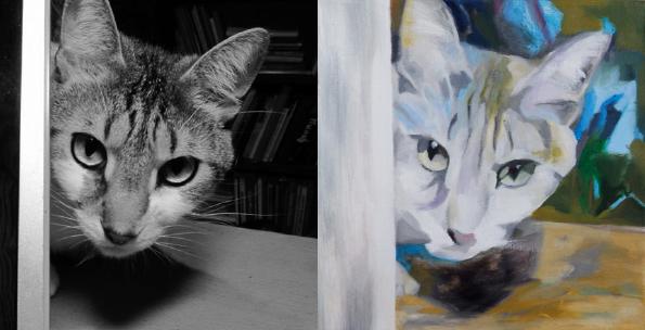 Foto ja maal, 2014, Maski taga, õli lõuendil 30x30cm