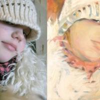 Foto ja maal, 2014, Tüdruk valge kootud mütsiga, õli lõuendil 40x40cm