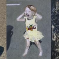 Foto ja 2 maali, 2005, Kaja, õli lõuendil 20x25cm ja 2005, Karujaht, süsi, akrüül vineeril