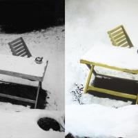 Foto ja maal, 2005, Esimene lumi 17. oktoobril 2003, õli lõuendil 159x219cm