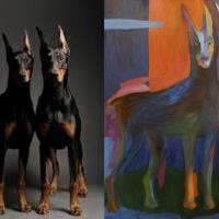 Foto ja maal, Dobermann kaks, õli papil, 95x106cm