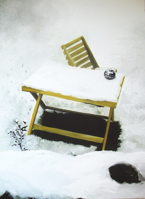 Esimene lumi 17 oktoobril 2003, õli lõuendil 159x219cm, 2005