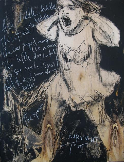 Karujaht, süsi, akrüül vineeril 74,5x91,5cm, 2005