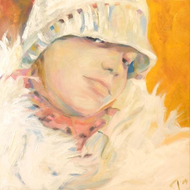 Tüdruk valge kootud mütsiga, õli lõuendil 40x40cm, 2014