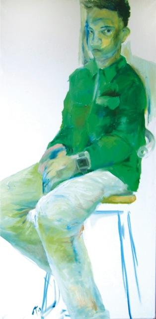 Rohelise jakiga, õli lõuendil 50x100cm, 2013
