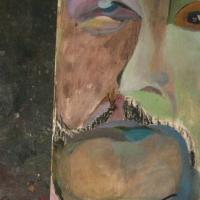 Meeleolu, õli-süsi vineeril 38x76cm, 2010