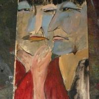 Akord, süsi-õli vineeril 38x76cm, 2010