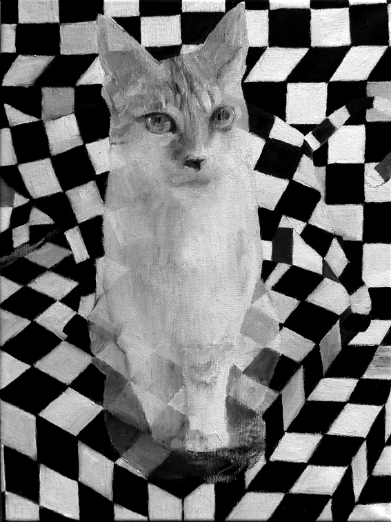 2014, Kaks kassi, õli lõuendil 30x41cm
