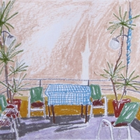 Mike'i hosteli terrassil, Rhodos, 2006, pastell A3