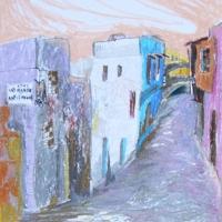 Tänav, Rhodos, 2006, pastell A3