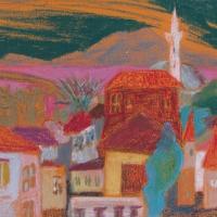 Valjuhääldiga minarett, Rhodos, 2006, pastell A3